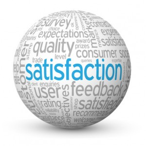 """SATISFACTION"" Tag Cloud Globe (quality customer service survey)"